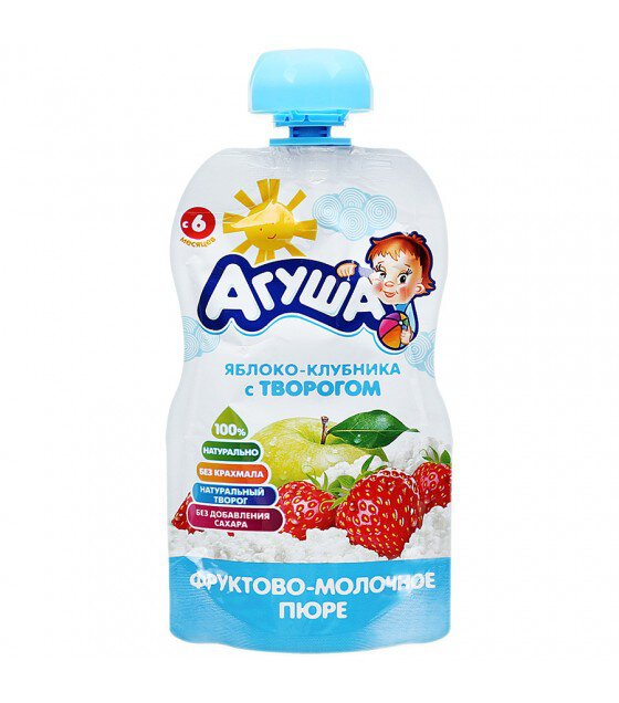 "Fruit-milk puree ""Agusha"" apple-strawberry-cottage cheese (from 6 months) - 90g (exp 27.03.19)"