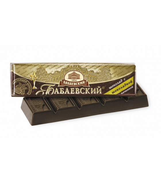 "Dark Chocolate Bar ""Babayevskiy"" with chocolate filling - 50 gr. (exp. 06.09.18)"