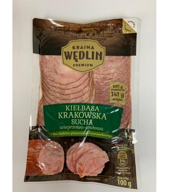 "KRAINA WEDLIN ""Krakowska"" Pork And Beef Sausage Sliced - 100g (exp. 29.11.19)"