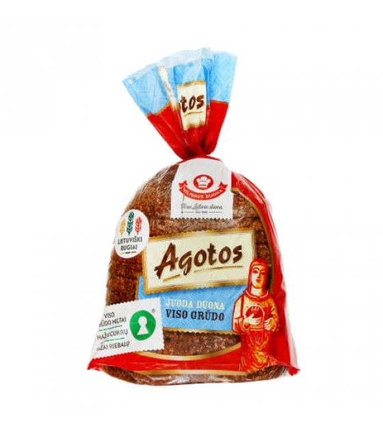 "VILNIAUS DUONA Dark Rye Whole Grain Bread Sliced ""Agotos"" - 375g"