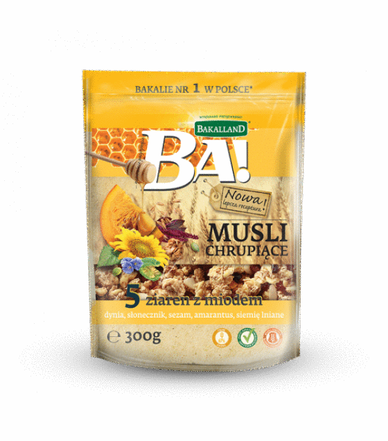 "Crunchy Muesli ""Ba!"" 5 grains and honey - 300g (exp. 05.06.19)"
