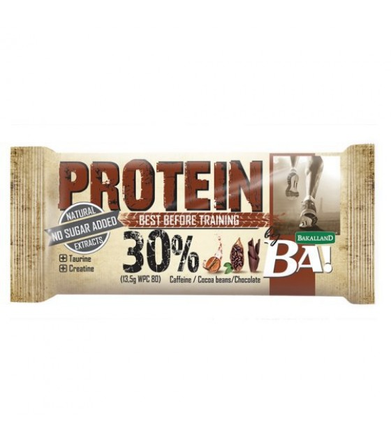 "BAKALLAND Protein Bar ""BA!"" Before Training. Caffeine, Cocoa Beans, Chocolate - 45g (exp. 30.06.20)"
