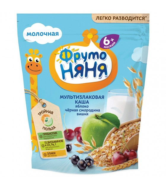 """FrutoNanya"" Multi Grains Porridge with apples, cherry and black currant (for children from 6 months) - 200g (exp. 10.05.20)"