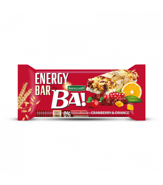 "BAKALLAND Energy Bar ""BA!"" with Cranberry and Orange - 40g (exp. 30.09.20)"