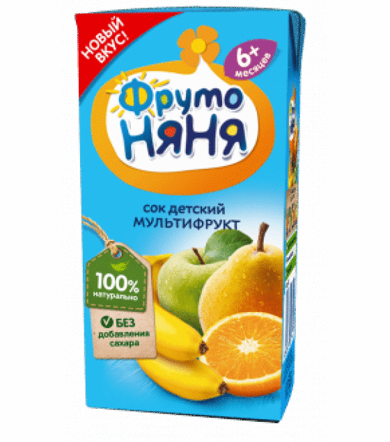 "Juice ""FrutoNanya"" multifruit, with no sugar, (from 6-months) - 200g (exp. 21.12.19)"
