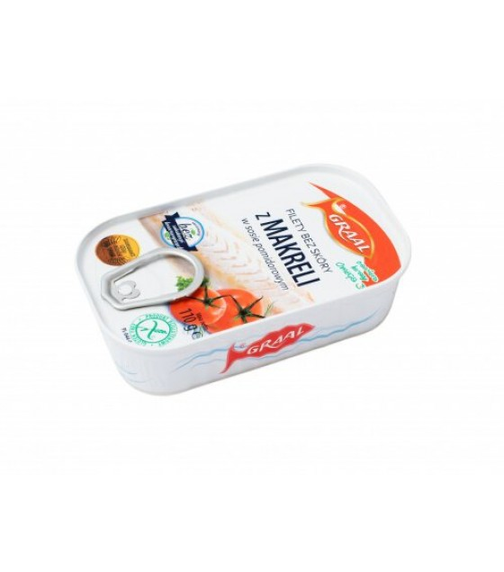 GRAAL Skinless Boneless Mackerel Fillets In Tomato Sauce - 110g (exp. 01.02.22)