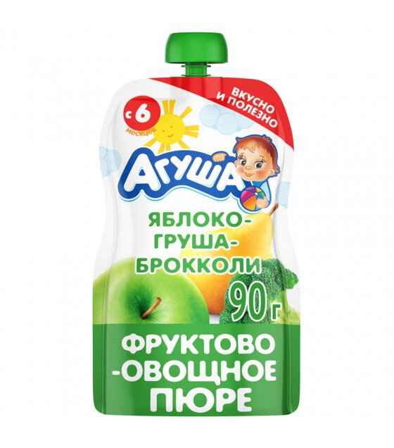 "Fruit and Vegetable Puree ""Agusha"" Apple-Pear-Broccoli (from 6 months) - 90g (exp. 31.03.20)"