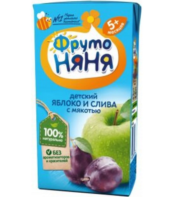 "Beverage ""FrutoNanya"" made of apples and plums with pulp, (from 5 months)  - 200g (exp. 16.12.20)"