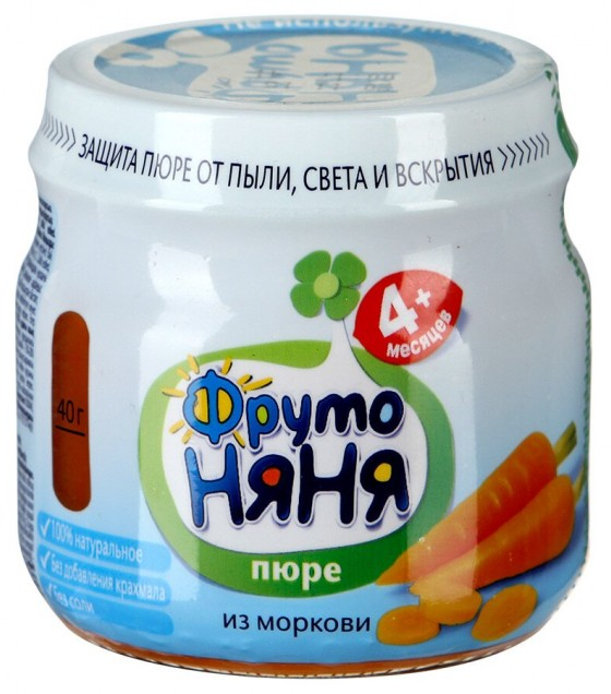 "Puree ""FrutoNanya"" Carrot (from 4 months) - 80g (exp. 08.07.19)"
