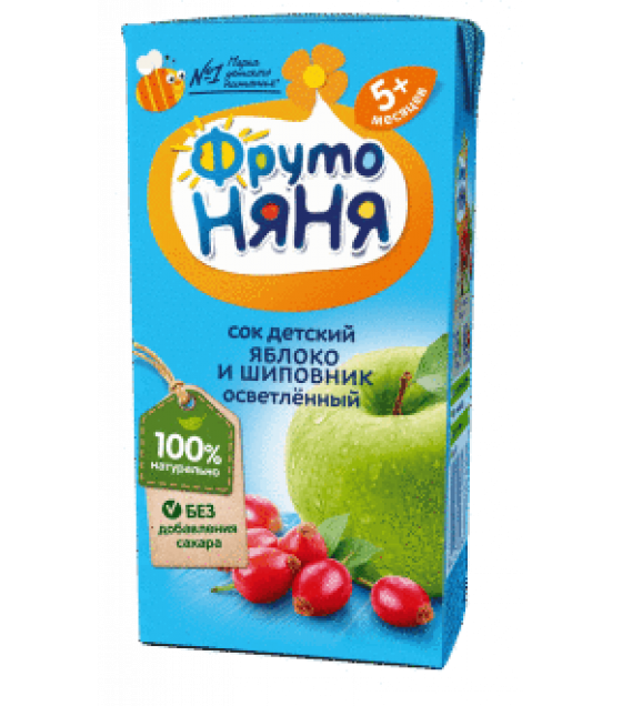 "Juice ""FrutoNanya"" made of apples and rosehip, with no sugar (from 5-months) - 200g (exp. 30.01.21)"