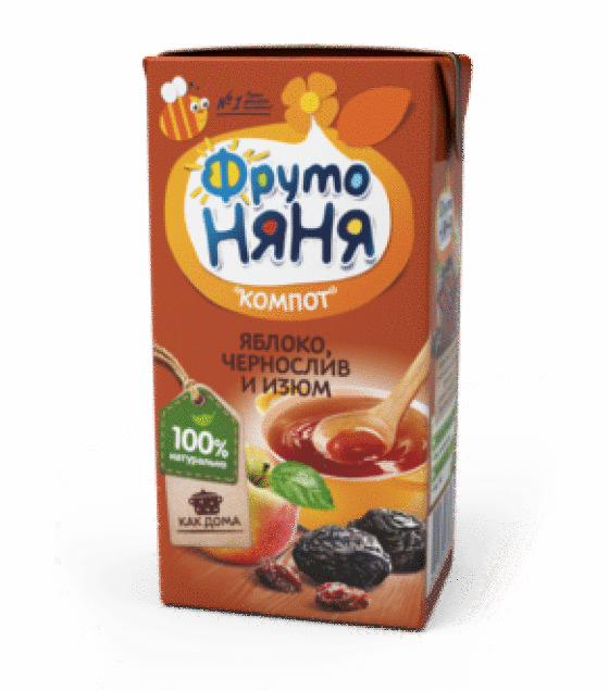 "Compote ""FrutoNanya"" from apples, prunes and raisins (from 6 months) - 200g (exp. 13.08.19)"