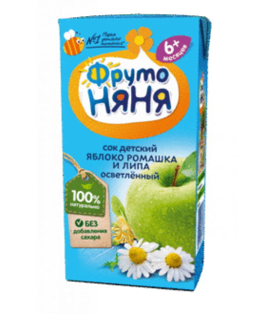 "Juice ""FrutoNanya"" made of apples, linden and chamomile, with no sugar (from 6-months) - 200g (exp. 31.10.19)"