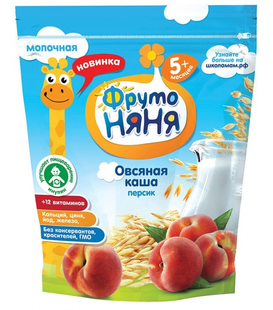 """FrutoNanya"" Oat Milk Porridge with Peach (for children from 5 months) - 200g (exp. 05.03.20)"