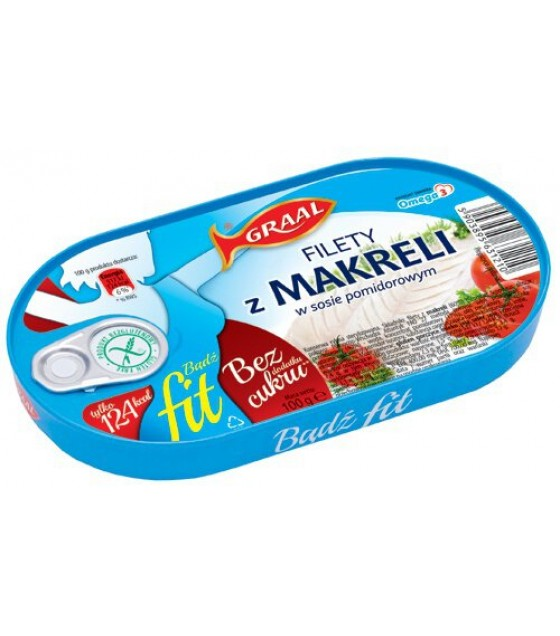 GRAAL Mackerel Fillets in Tomato Sauce FIT - 100g (exp. 01.12.21)