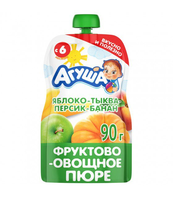 "Fruit and Vegetable Puree ""Agusha"" Apple-Pumpkin-Peach-Banana (from 6 months) - 90g (exp. 10.04.20)"