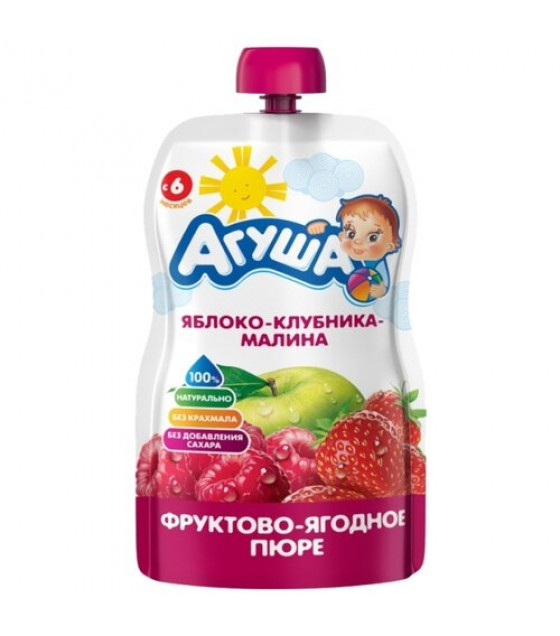 "Fruit puree ""Agusha"" apple-strawberry-raspberry (from 6-months) - 90g (exp. 30.03.20)"