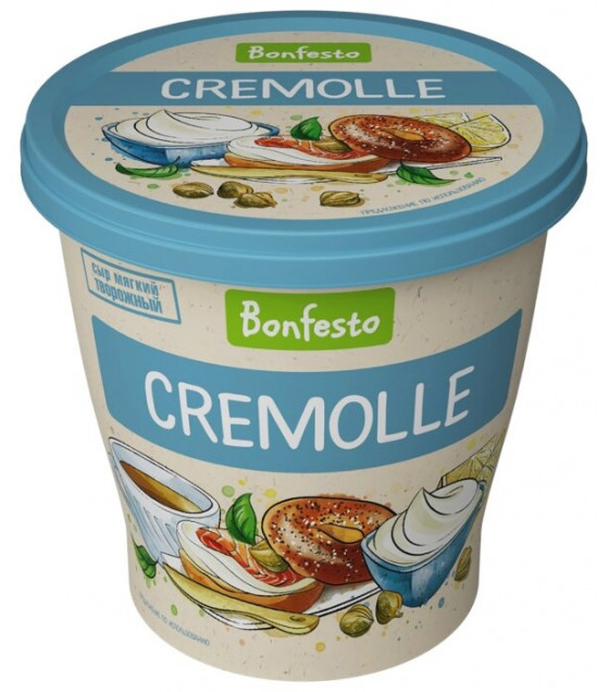 "BONFESTO Soft Aerated Creamy-curd Cheese ""Cremolle"" with 65% fat - 125g (before before 25.08.21)"