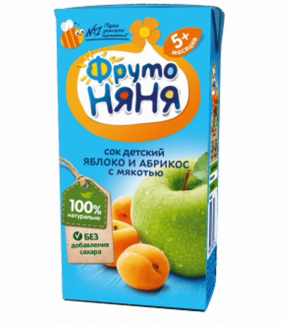 "Juice ""FrutoNanya"" made of apples and apricots with pulp, (from 5 months) - 200g (exp. 11.12.19)"