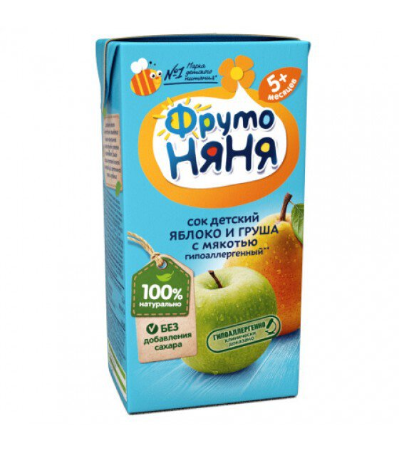 "Juice ""FrutoNanya"" made of apples and pears with pulp, (from 5 months) - 200g (exp. 13.03.20)"