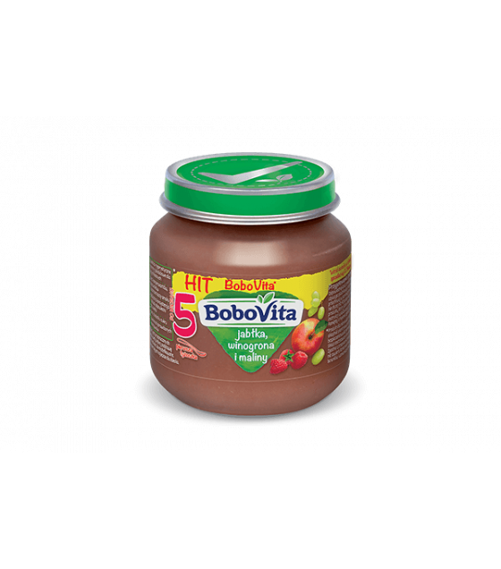 NUTRICIA BoboVita Baby Puree with Apples, Grapes and Raspberries (from 5 months) - 125g (best before 15.02.21)