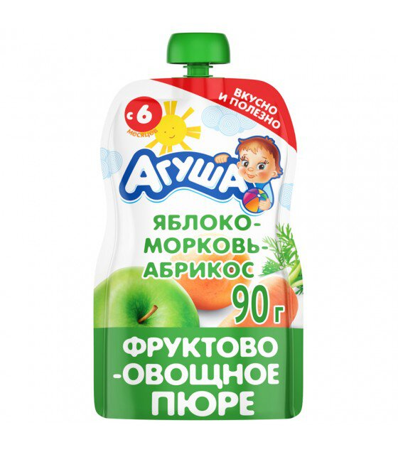 "Fruit and Vegetable Puree ""Agusha"" Apple-Carrot-Apricot (from 6-months) - 90g (exp. 08.04.20)"