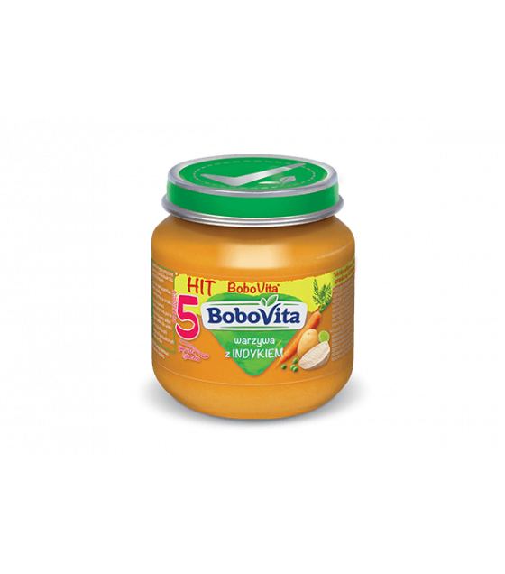 NUTRICIA BoboVita Baby Puree with Vegetables and Turkey (from 5 months) - 125g (best before 26.09.21)