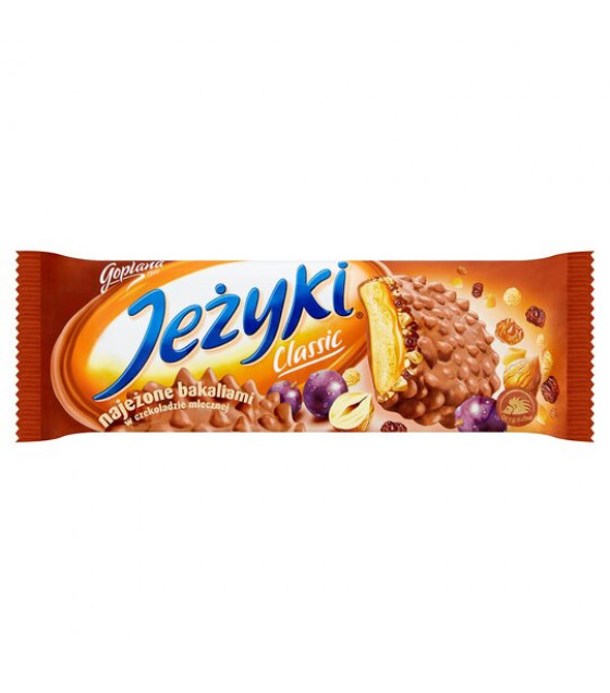 JEZYKI Milk Chocolate Biscuits With Caramel, Hazelnuts, Raisins and Rice Crisps Filling - 140g (best before 01.02.22)
