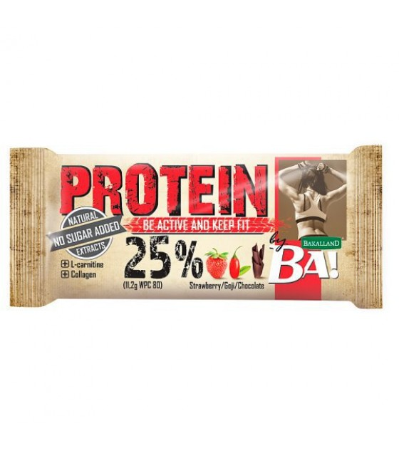 "BAKALLAND Protein Bar ""BA!"" Be Active and Keep Fit. Strawberry - 45g (exp. 31.05.20)"