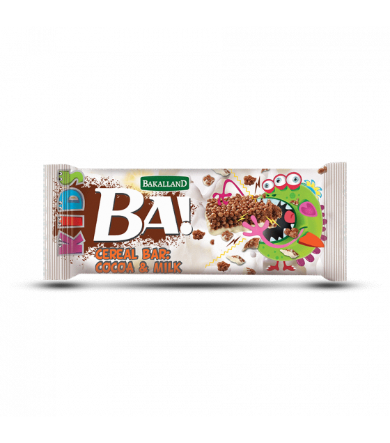 "BAKALLAND Cereal Bar ""BA!"" for Kids, Cocoa and Milk - 25g (exp. 30.06.20)"