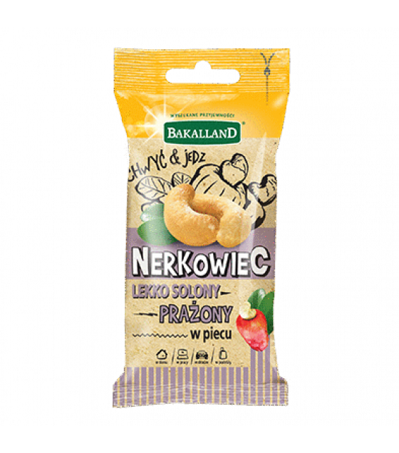 BAKALLAND Roasted Slightly Salted Cashews (Nerkowiec) - 30g (exp. 30.04.20)