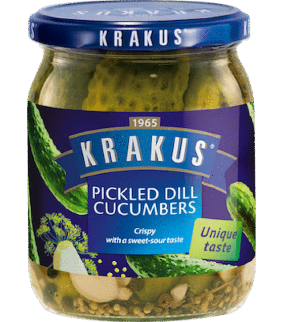 KRAKUS Pickled Dill Cucumbers - 490g/260g (exp. 01.11.20)