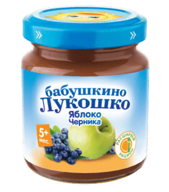 "Puree ""Babushkino Lukoshko"" apple with blueberry (from 8 months) - 100g (exp. 16.07.20)"