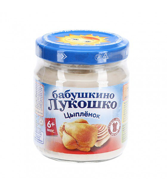 "Puree ""Babushkino Lukoshko"" Chicken (from 6 months) - 100g (exp. 25.08.20)"