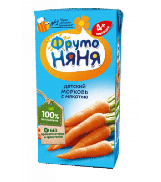 "Nectar ""FrutoNanya"" made of carrots with pulp, (from 4-months) - 200g (exp. 03.11.20)"