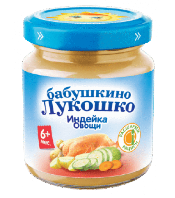 "Puree ""Babushkino Lukoshko"" turkey and vegetables (from 6 months) - 100g (exp. 22.07.20)"