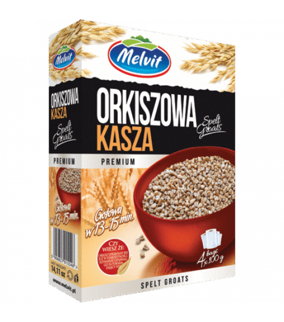 "MELVIT Spelt Groats ""Orkiszowa"" - 4x100g (exp. 04.01.21)"