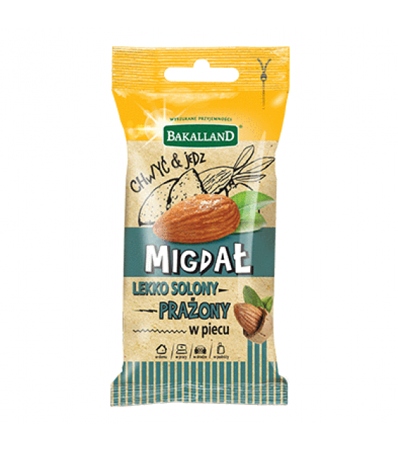 BAKALLAND Roasted Slightly Salted Almonds (Migdal)- 35g (exp. 31.05.20)