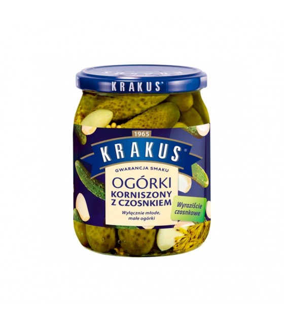 KRAKUS Pickles Gherkins with Garlic - 500g (best before  01.10.22)