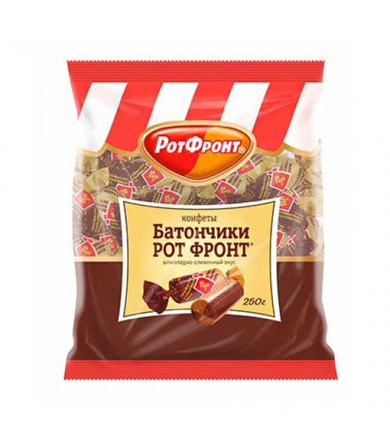 "ROTFRONT Candies Praline Type ""Batonchiki"" with Chocolate-Cream Taste - 250g (exp. 27.03.20)"