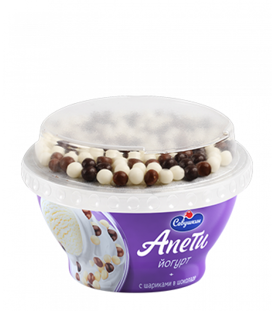 """SAVUSHKIN Yoghurt """"Apeti"""" with """"Plombir"""" ice-cream taste and cereal balls covered with white, milk and black chocolate with 5% fat (plastic cup) - 105g (best before 12.02.21)"""