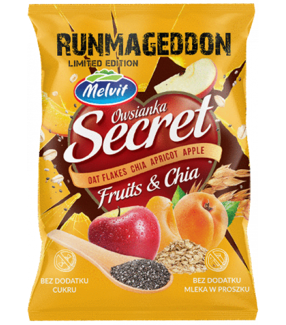 "MELVIT ""Secret Fitness"" Oat Flakes with Chia, Apricot and Apple - 50g (exp. 09.10.20)"