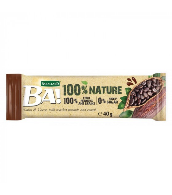 "BAKALLAND Fruit Bar ""BA!""  Dates and Cocoa with Roasted Peanuts and Cereal - 40g (exp. 30.06.20)"