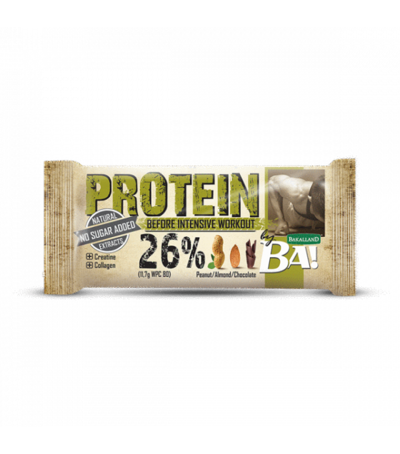 "BAKALLAND Protein Bar ""BA!"" Before Intense Workout. Peanut, Almond, Chocolate - 45g (exp. 31.07.20)"