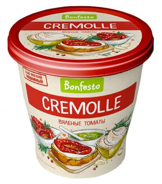 "BONFESTO Soft Aerated Creamy-curd Cheese ""Cremolle"" with 65% fat and ""Sun-dried Tomatoes"" filler - 125g (before before 17.02.21)"