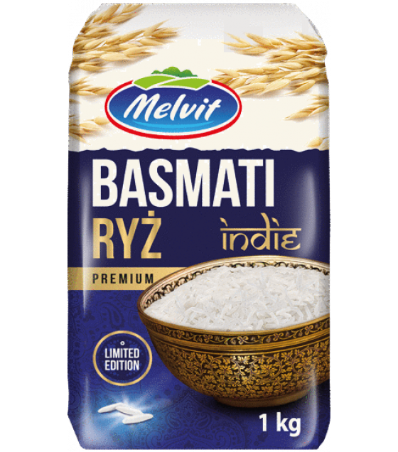 MELVIT Basmati Traditional Indian Rice - 1kg (best before 15.04.22)