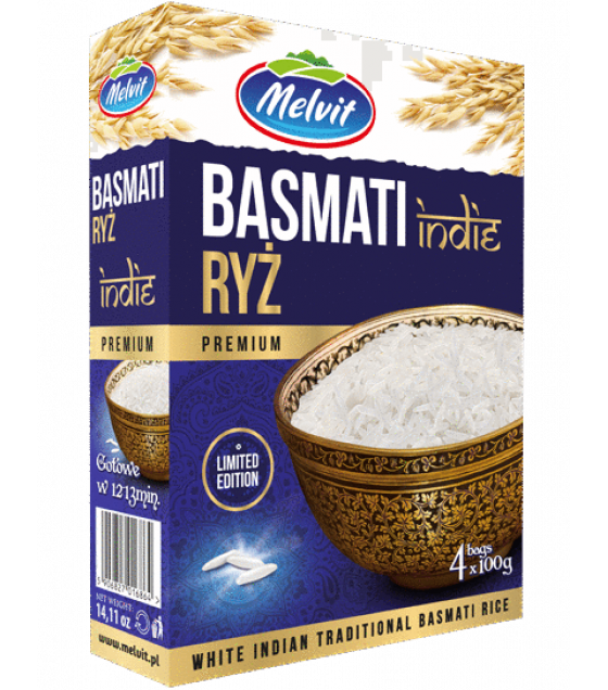 MELVIT Basmati Traditional Indian Rice (4x100g) - 400g (exp. 15.04.22)