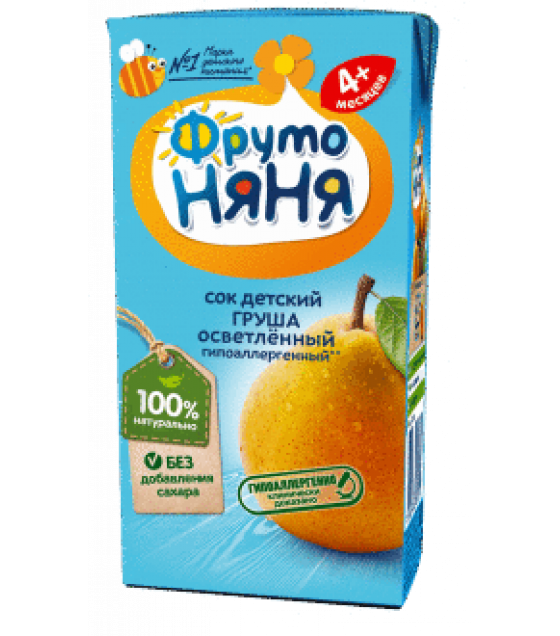 "Juice ""FrutoNanya"" made of pears, hypoallergenic, with no sugar, (from 4-months) - 200g (exp. 24.12.20)"