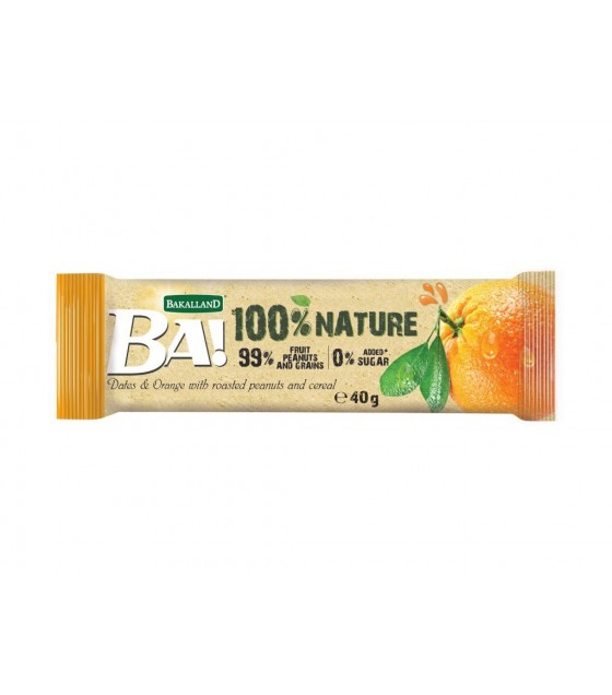 "BAKALLAND Fruit Bar ""BA!""  Dates and Orange with Roasted Peanuts and Cereal - 40g (exp. 31.08.20)"