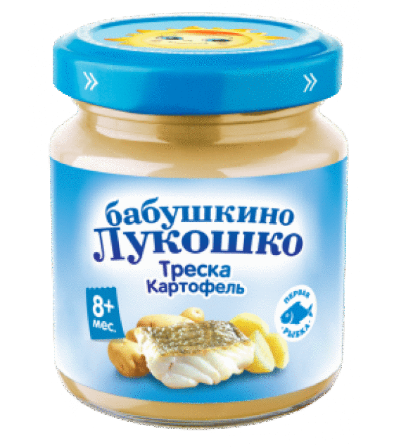 "Puree ""Babushkino Lukoshko"" Cod with potatoes (from 8 months) - 100g (exp. 30.08.19)"