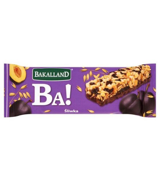 "Energy Cereal Bar ""Bakalland Ba!"" Plum - 40g (exp. 29.02.20)"